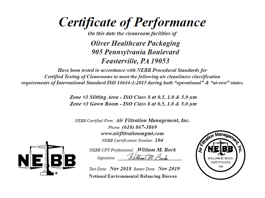Our Certifications » Oliver™ Healthcare Packaging